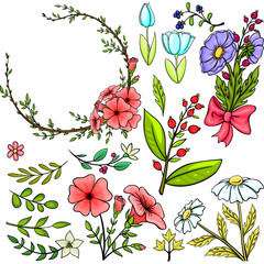 Set of cartoon vector flowers
