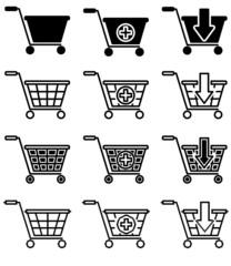 Vector set of sale basket pictogram