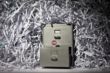 A file cabinet and lots of shredded paper.
