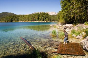 Floss, Kind, spielen, Ufer, Eibsee, Bergsee, Traum
