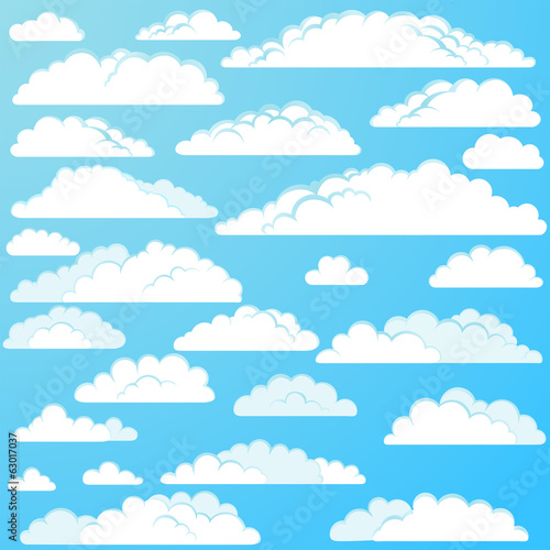 Set of vector cartoon clouds