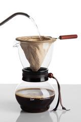 Brew coffee in chemex