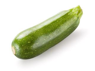 One fresh green zucchini isolated on white background