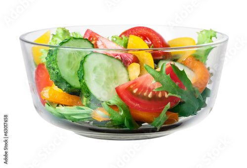 Fresh vegetable salad in bowl. With clipping path