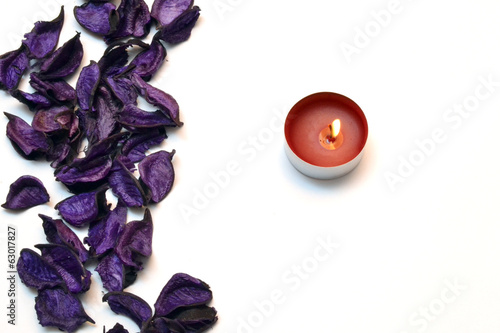 Purple petal and candle