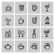vector black beverages icons set