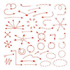 Set of hand drawn arrows and circles.