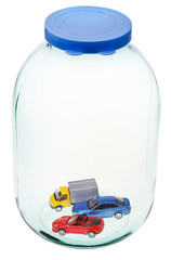 new cars in big closed glass jar