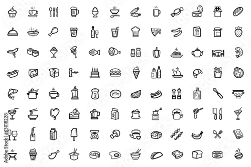 vector food icons set - 63018228