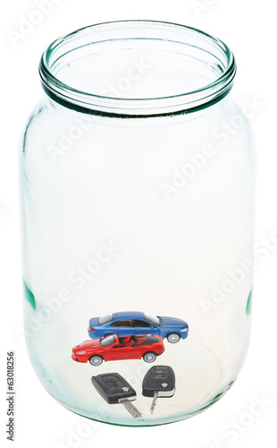 new vehicle and keys in glass jar