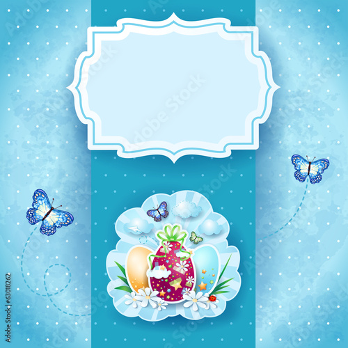 Easter background with label, eggs and butterflies