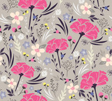 Seamless floral pattern. Background with flowers and leafs. - 63019026
