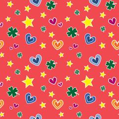 Бесшовный узор с сердцем и звездами
