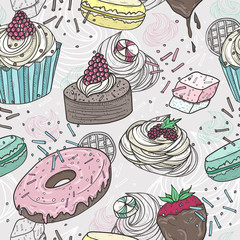 Cute sweets seamless pattern