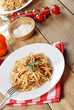 Pasta bolognese on the wooden table