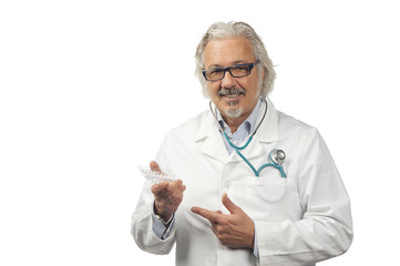 caucasian mature male doctor on bright background