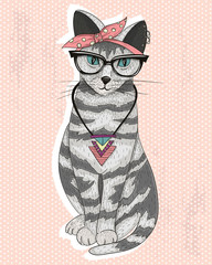 Cute hipster rockabilly cat with head scarf, glasses and necklac © dovile kuusiene