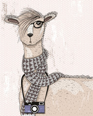 Cute hipster lama with photo camera, glasses and scarf