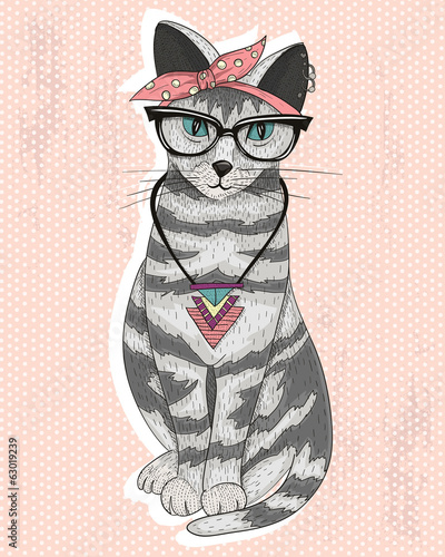 Cute hipster rockabilly cat with head scarf, glasses and necklac