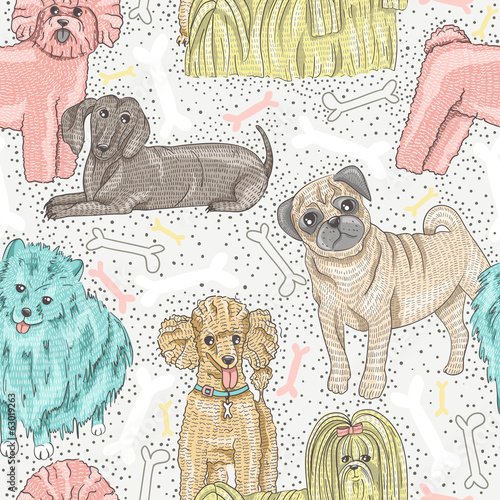 cute seamless vector pattern with little breed dogs. Bichon, pug