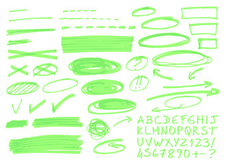 Hand drawn highlighter elements.