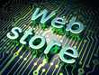 SEO web development concept: Web Store on circuit board