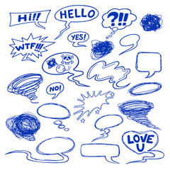 Set of comic speech bubbles, shapes and icons.