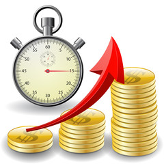 trade diagram with golden coins money with stopwatch