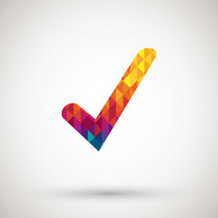 checkmark icon with colorful diamond