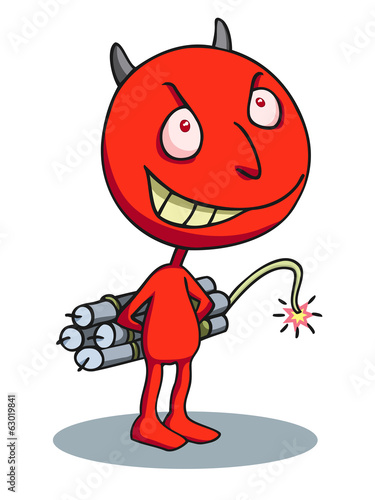 Devil terrorist carrying a dynamite bomb.
