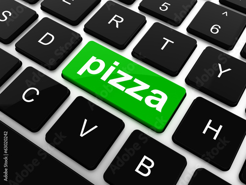 Computer keyboard with blue pizza word on enter key