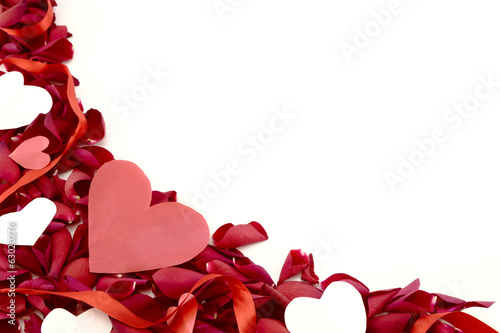 Rose petal and hearts border.