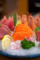Japanese style assorted sashimi dish