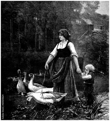 Peasant Woman & her Geese - Gardeuse d'Oies - 19th century