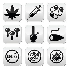 Drugs, addiction, marijuana, syringe buttons set