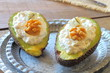 Avocados with blue cheese and walnuts cream
