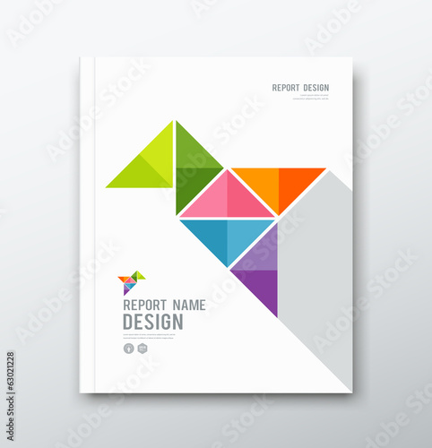 Cover Annual report, colorful bird origami paper
