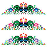 Polish floral folk long embroidery pattern with roosters - 63021836