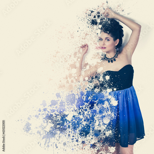 Woman in short dress with paint splatter