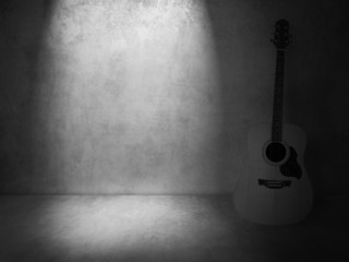 vintage guitar on old background