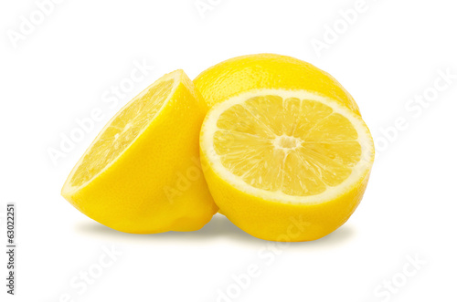 Fresh lemons on white background