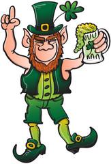 Saint Patrick's Day Leprechaun Celebrating with Beer