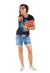 smiling female student with red folder, thumbs up