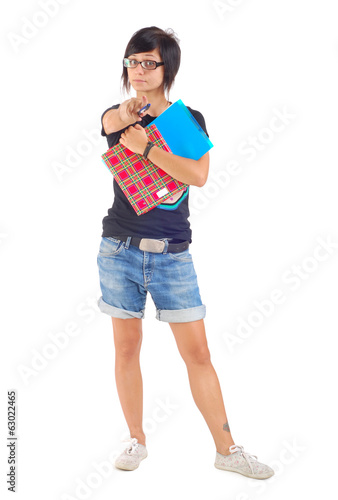 female student with red folder, warning, isolated
