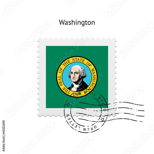 State of Washington flag postage stamp.