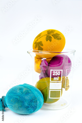 Easter eggs in lab glass
