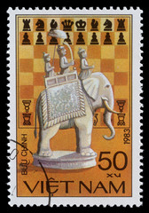 Vietnam postage stamp with chess elephant
