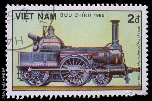 Stamp printed in Vietnam showing steam locomotive