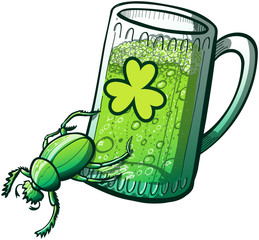 Saint Patrick's Day Beetle pushing a glass of beer