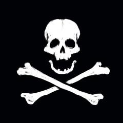 skull head on black background